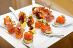 Variety of canapes Stock Photo
