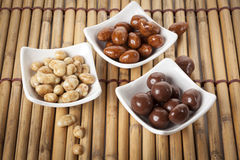 Variety of candied nuts Stock Photos