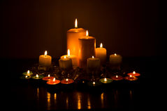 Variety of candles lights stock images