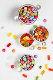 Variety of candy, gummy bears, chocolate drops, jel Royalty Free Stock Photos