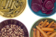 Variety of Canned Vegetables in Bowls Royalty Free Stock Images