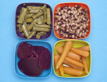 Variety of Canned Vegetables in Colorful Bowls Stock Photo