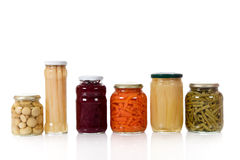Variety of canned vegetables in jars. Royalty Free Stock Photo