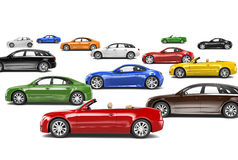 Variety of Car Collection. Variety of colourful car collection stock image