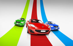 Variety Car Collection Contemporary Transportation Concept Stock Photography