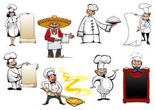 Variety cartoon chefs and bakers Royalty Free Stock Photography