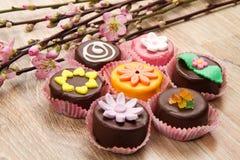 Variety of cassate sicily dessert  with spring flower Stock Image