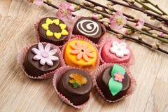 Variety of cassate sicily dessert with spring flower Stock Photo