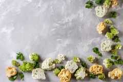 Variety of cauliflower and radish. Variety of fresh raw organic colorful cauliflower, cabbage romanesco and coriander leaves over gray texture surface. Food Royalty Free Stock Image