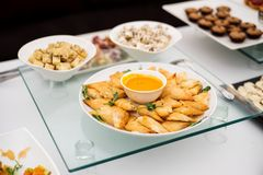 Variety of cheese canapes Royalty Free Stock Photography