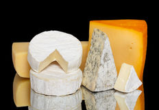 Variety of cheese isolated Stock Photography