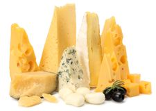 Variety of cheese isolated on white background. Different sorts of cheese. stock photos