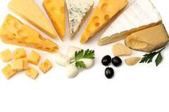 Variety of cheese isolated on white background. Different sorts of cheese. stock photo