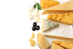 Variety of cheese isolated on white background. Different sorts of cheese. top view stock photo