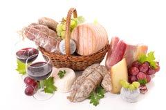 Variety of cheese and salami Royalty Free Stock Photo
