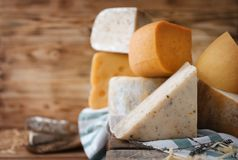 Variety of cheese. On table Stock Photo