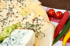 Variety of cheeses Royalty Free Stock Images