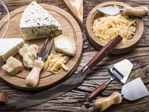 Variety of cheeses. Vintage stiles. Stock Image