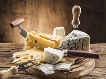Variety of cheeses. Vintage stiles. Stock Photography