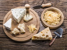 Variety of cheeses. Vintage stiles. Stock Photo