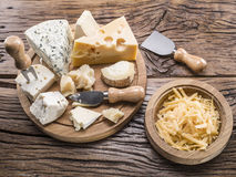 Variety of cheeses. Vintage styles. Royalty Free Stock Photos