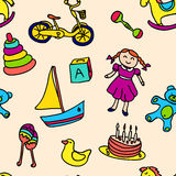 A variety of children's toys pattern Royalty Free Stock Photos