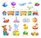 Variety of childrens toys royalty free illustration