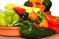 Variety of chili peppers Royalty Free Stock Photo