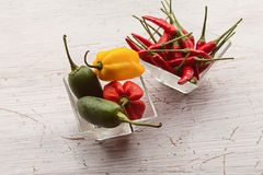 Variety of chili peppers Stock Photos