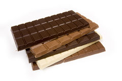 Variety of chocolate bars Stock Photography