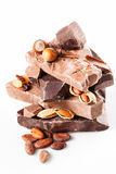Variety of chocolate with nuts  on white. Stock Photography