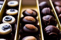 Variety Chocolate pralines in box. Stock Photography