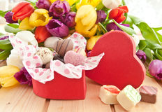 Variety of chocolates in heartshaped box Royalty Free Stock Image