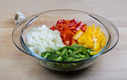 A variety of chopped peppers in a bowl Royalty Free Stock Images