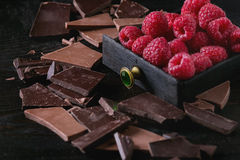 Variety of chopping chocolate with raspberries. Dark and milk chopping chocolate and chips shavings chopping chocolate with fresh raspberries in black wood box Stock Image