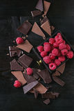 Variety of chopping chocolate with raspberries. Dark and milk chopping chocolate and chips shavings chopping chocolate with fresh raspberries in black wood box Royalty Free Stock Photography