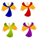 Variety of Christmas Angels Clip Art. A clip art illustration of your choice of 4 colorful Christmas angels with golden wings in blue,red,green and purple gowns stock illustration