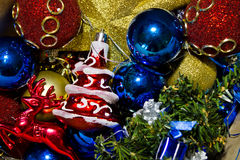 Variety of Christmas tree decorations Stock Image