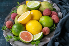 Variety of citrus fruits with tiger lemon Stock Image