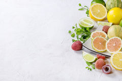 Variety of citrus fruits with tiger lemon Royalty Free Stock Images
