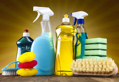 Variety of cleaning products Royalty Free Stock Photography