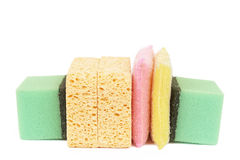 Variety of cleaning sponges. Isolated on white background Stock Photography