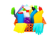 Variety of cleaning supplies in a basket Royalty Free Stock Image