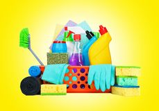 Variety of cleaning supplies in a basket Stock Photography
