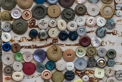 A variety of clothing buttons royalty free stock photography