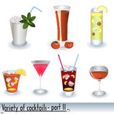 Variety Of Cocktails. Set of  illustrated different color cocktails isolated on white background Stock Photography