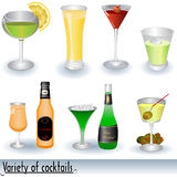 Variety Of Cocktails. Vector illustration of different cocktails and bottles beside some of them Stock Images