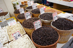 Variety of coffee bean for sell. Variety of coffee beans for sale in local market stock photography