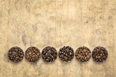 Variety of coffee beans from different parts of the world. Sampler of coffee beans from different parts of the world - overhead view of round bowls against royalty free stock photo