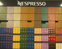Variety of coffee capsules in Nespresso store Royalty Free Stock Image